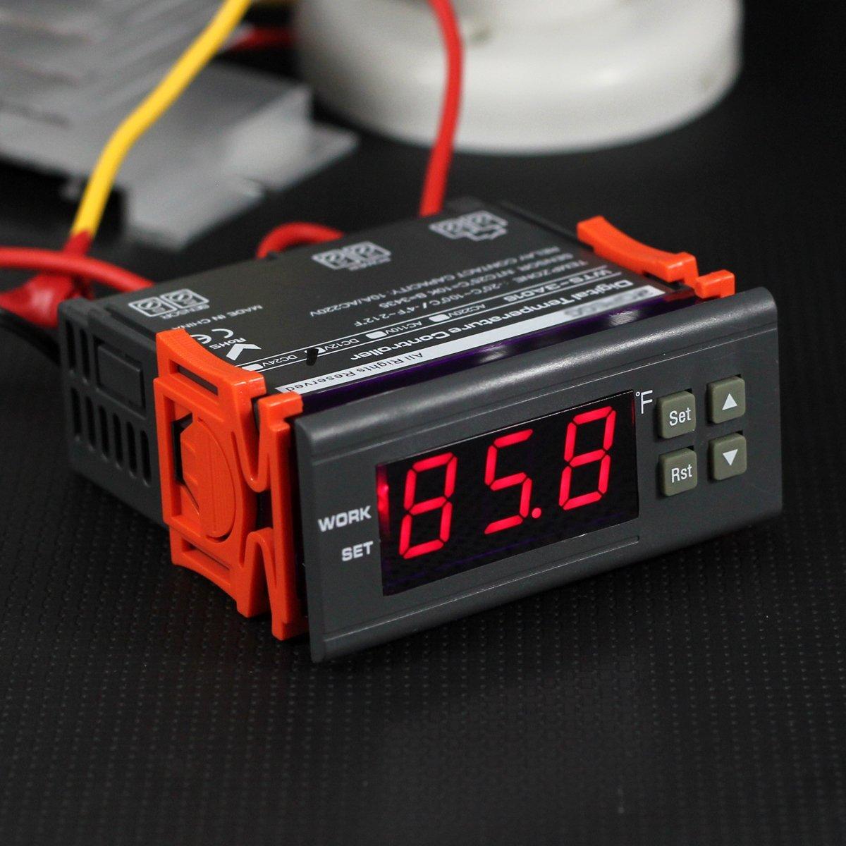 Bayite Ac 110v Fahrenheit Digital Temperature Controller 10a 1 Relay Wiring Diagram With Sensor