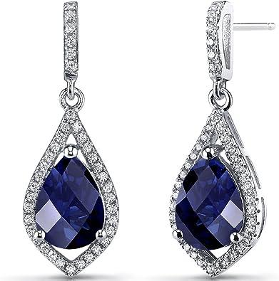 Acabado De Oro Blanco Lágrima Azul Zafiro y creado Diamante Pendientes Colgantes