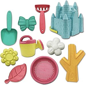 Beach Sand Toys For Kids-10 PCS Beach Sand Toys Set For Kids, Includes Mesh Bag, Castle Bucket Sandbox, Plant Molds, Sand Sieve, Shovel Tool Kit, And Watering Can, Beach Games For Toddlers Boys Girls