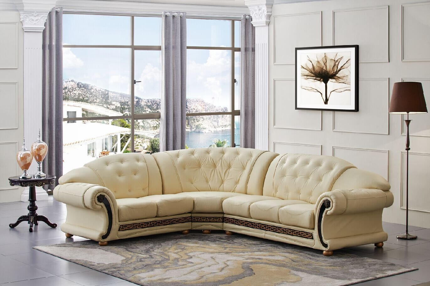 Amazon Versace Beige Leather Sectional Sofa in Traditional
