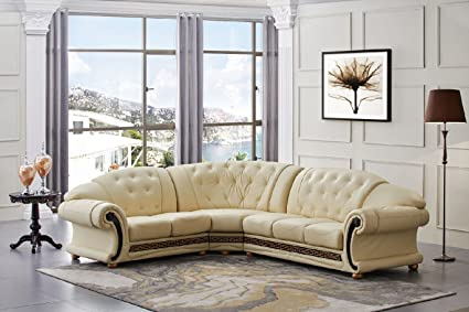 beige sofas living room. Versace Beige Leather Sectional Sofa in Traditional Style Amazon com