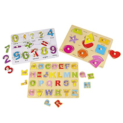 Usatdd Kids Toddler Puzzles Wooden Peg Chunky Puzzles For 2 3 4 5 Years Old Set Of 3 Numbers Alphabet And Shapes Puzzle Toy Board Game Cognitive