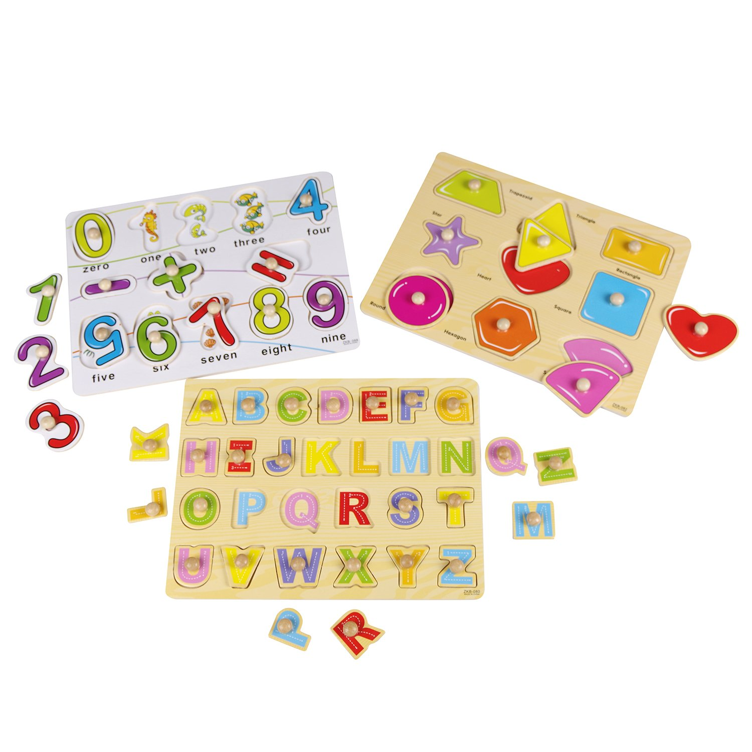 USATDD Kids Toddler Puzzles Wooden Peg Chunky Puzzles for 2 3 4 5 Years Old (Set of 3) - Numbers, Alphabet, and Shapes Puzzle Toy Board Game Cognitive Learning Gift New Version