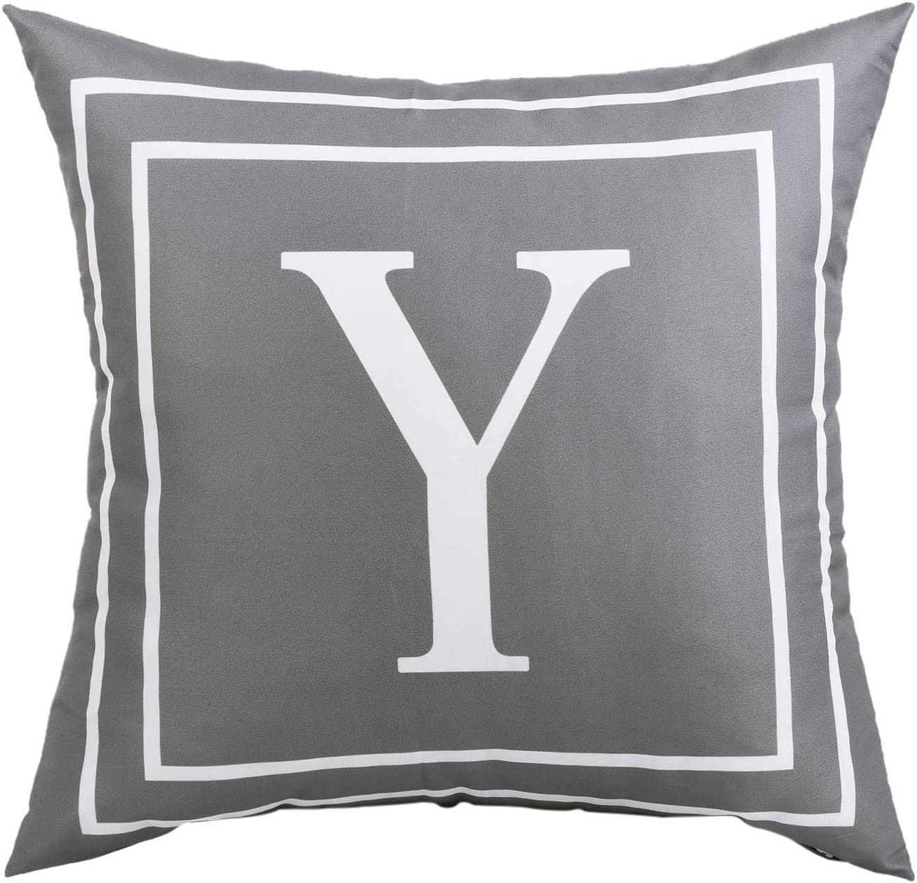 ASPMIZ Throw Pillow Covers English Alphabet Y Pillow Covers, Initial Pillowcases Gray Letter Throw Pillow Covers, Decorative Cushion Cover for Bed Bedroom Couch Sofa (Gray, 18 x 18 inch)