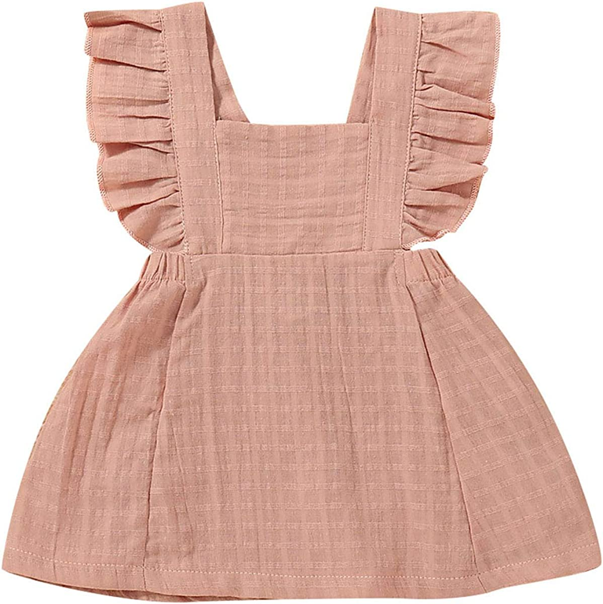 Baby Girl Casual Ruffled Dress Pure Color Sleeveless Dress for Summer Brown