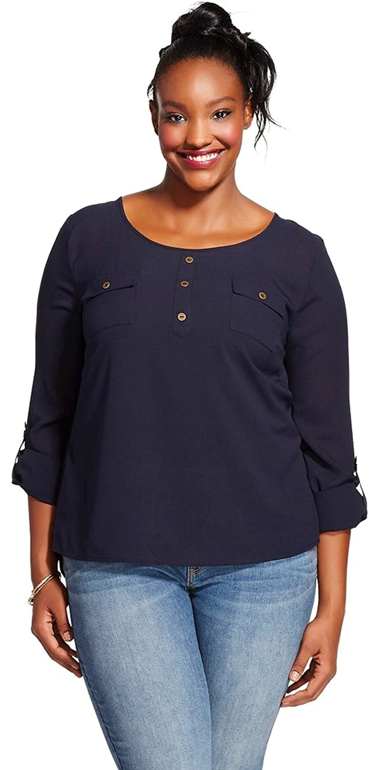Perch by Blu Pepper Womens Plus Size Top with Button Back (3X, Navy) at Amazon Womens Clothing store: