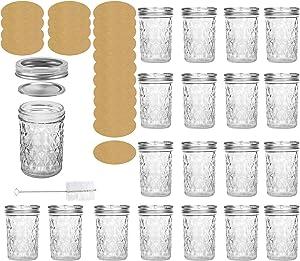 20Pack 8OZ Glass Mason Jar Canning Jar Jelly Jars With Regular Lids&Bands 20 Labels&1Brush,Ideal for Jam/Honey/Wedding Favors/Shower Favors/Baby Foods