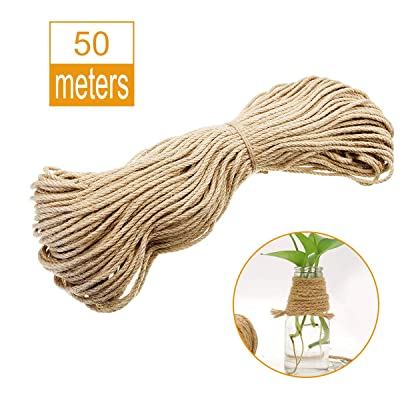 10mm Natural Thick Jute Twine, 164 Feet Hemp Rope Cord, Strong Jute Twine String for DIY Crafts Gardening Hammock Home Decorating Gift Wrapping : Office Products