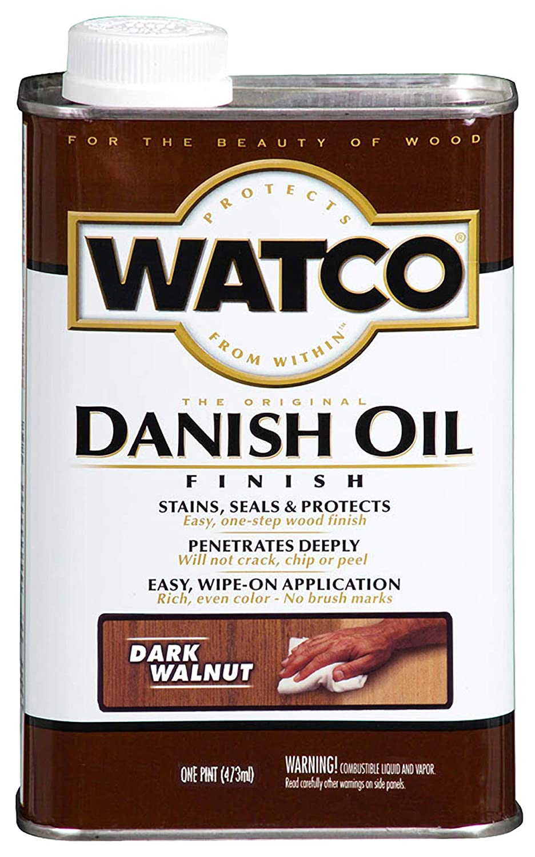 Watco 242221 Danish Oil Wood Finish, Low VOC, Pint, Dark Walnut RUST-OLEUM