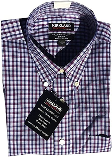 Kirkland Signature Camisa de Vestir para Hombre, 100% algodón, Cuello no extendido, Color Morado a Cuadros Azul Marino: Amazon.es: Hogar