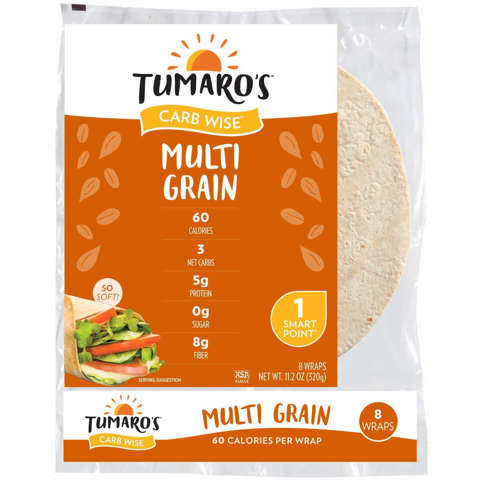 "Tumaro's 8"" CarbWise™ Wraps - Multigrain - 8 Count - Case of 6"