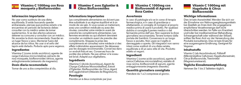 Vitamina C 1000mg con Bioflavonoides Cítricos de Rosa Mosqueta - 2 frascos de 180 Comprimidos -Hasta 1 año de suministro - SimplySupplements: Amazon.es: ...