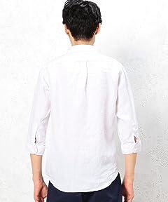 Linen Ramie 7/10 Sleeve Buttondown Shirt 3216-166-1073: White