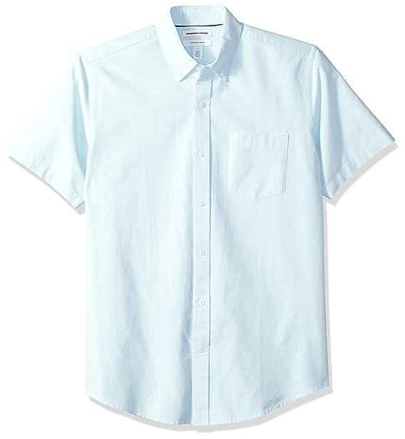 c1a19329 Amazon Essentials Men's Regular-Fit Short-Sleeve Pocket Oxford Shirt, Aqua,  X