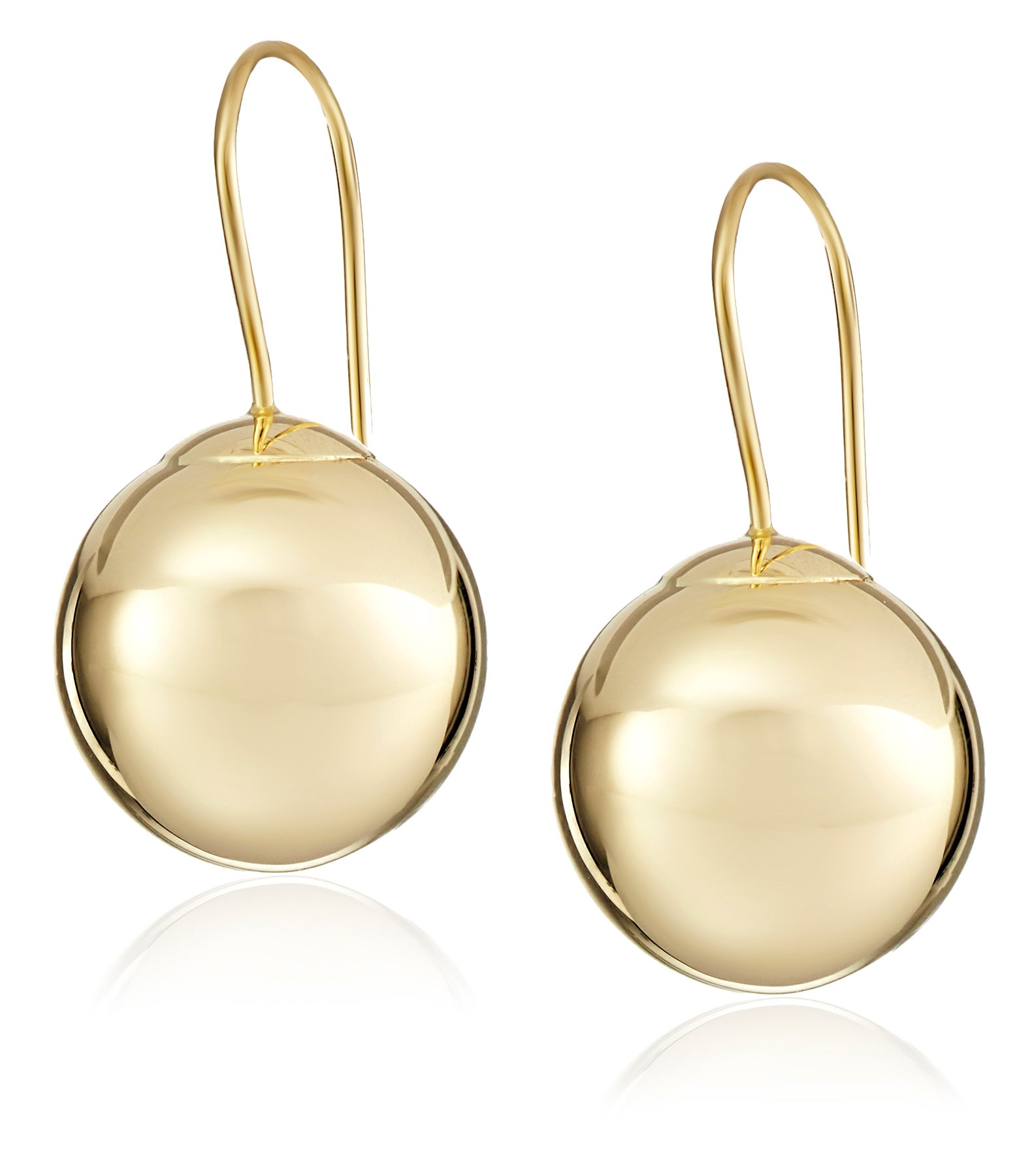 14k Yellow Gold Ball Dangle Earrings