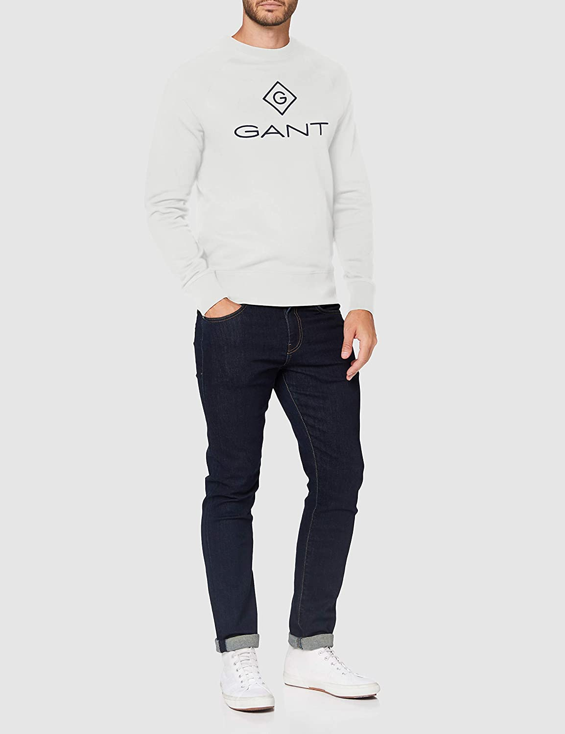 GANT Herren Lock Up C-Neck Sweat Pullover Eggshell