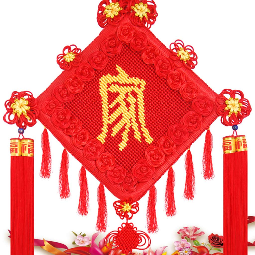 CFJKN Feng Shui Chinese Knot, Chinese New Year Decoration Fu Traditional Ornamental Handcraft Knitted Hanging Wedding Home Car Style,red_125x45cm
