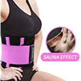 Upgraded Exercise Sweat Waist Belt for Women Abahub Floral Waist Trimmer with Pocket for Weight Loss