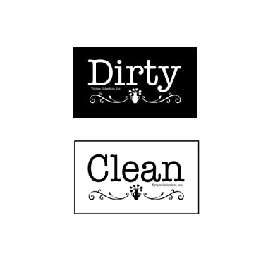 3.5  X 2  Double Sided Dishwasher Flip CLEAN & DIRTY Premium 45 mil Dishwasher Magnet MADE in USA (Black/White Flowerpot)