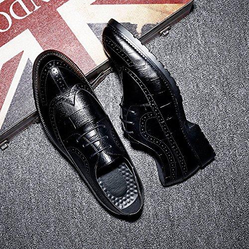 Jiuyue Scarpe Nero Uomo shoes Pelle brogue 44 Color da uomo classiche Scarpe 2018 pelle EU Marrone Dimensione PU in rUrEnPqwF1