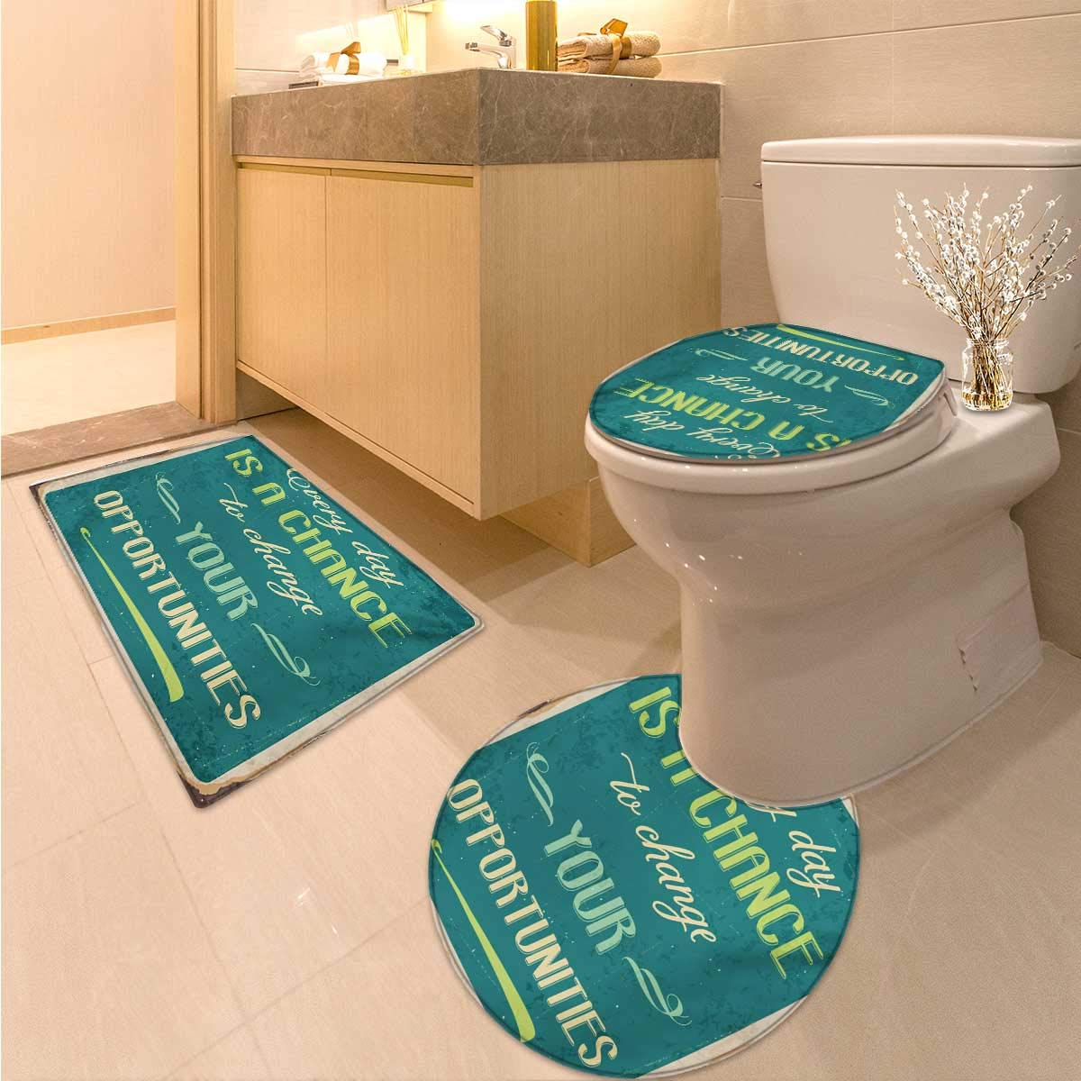 Anhuthree Lifestyle Bath Toilet mat Set Every Day is a Chance to Change Your Opportunities Quote Retro Poster Print 3 Piece Shower Mat Set Jade Green Tan