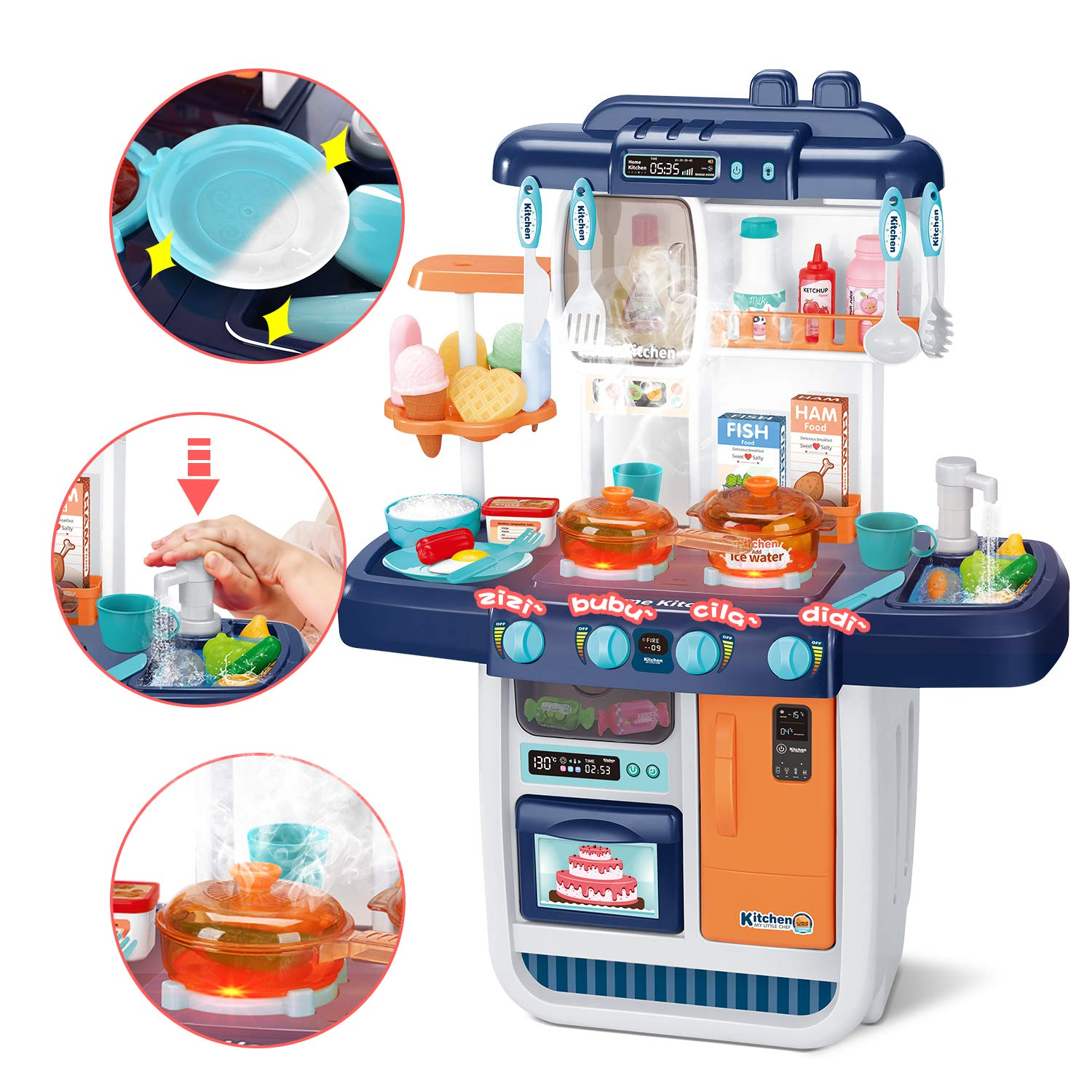 CUTE STONE Kitchen Playset, Kids Play Kitchen with Realistic Lights & Sounds,Simulation of Spray, Play Sink with Running Water,Dessert Shelf Toy & Other Kithen Accessories Set for Girls Boys Toddlers by CUTE STONE