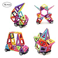 Ausear Magnetic Building Blocks, 76 PCS Mini Magnet Tiles Set Educational Stacking Toys for Kids Over 3 Years Old