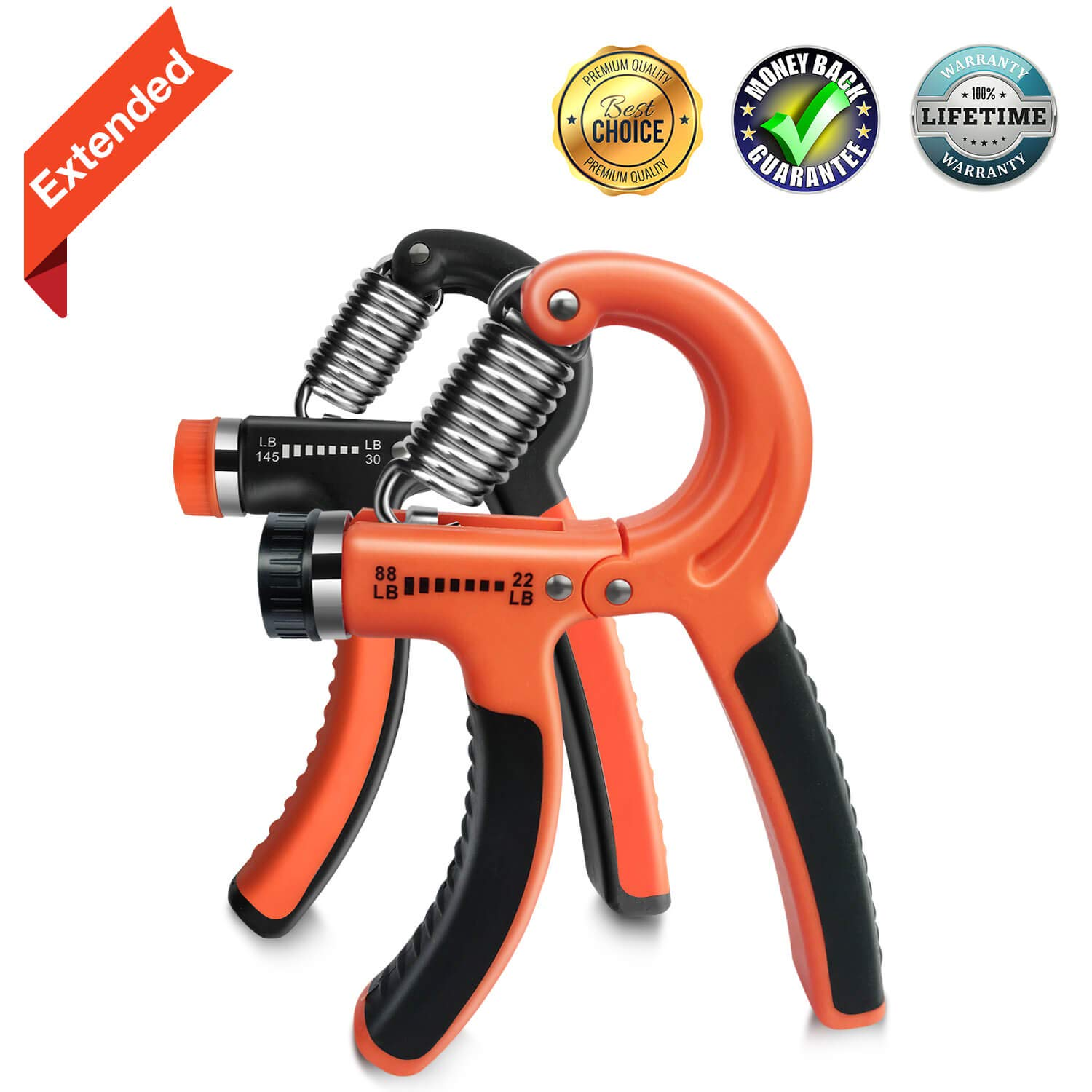 Hand Grip Strengthener, Grip Strength Trainer Forearm Grip Workout Adjustable Resistance (22-88 Lbs&30-145 Lbs) Extended Hand Gripper Grip Exerciser for Athletes Musicians Men (Grip Strength Trainer)