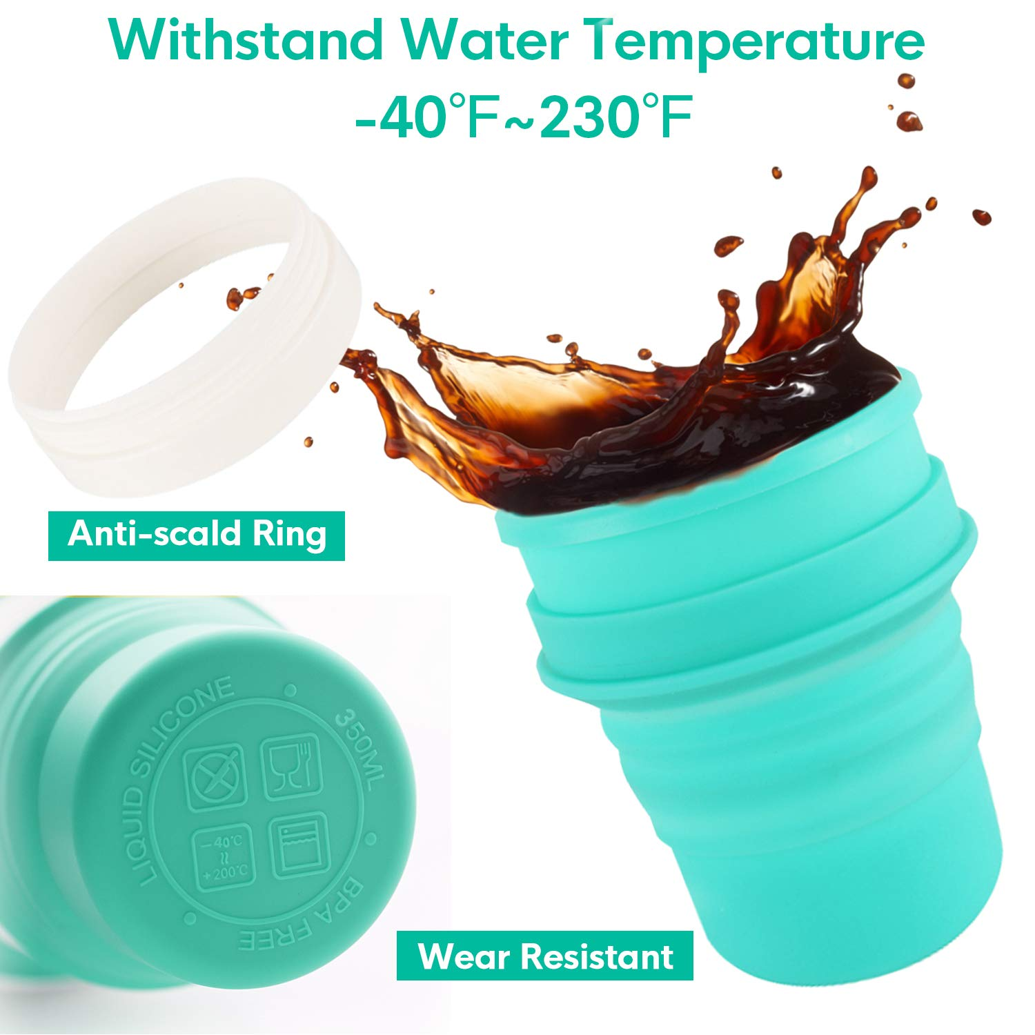 Idealife Collapsible Silicone Travel Cup Foldable Cup with Straw and Lid Folding Cup for Camping Travel Outdoor Office BPA Free 350ml/11.8oz (Green)