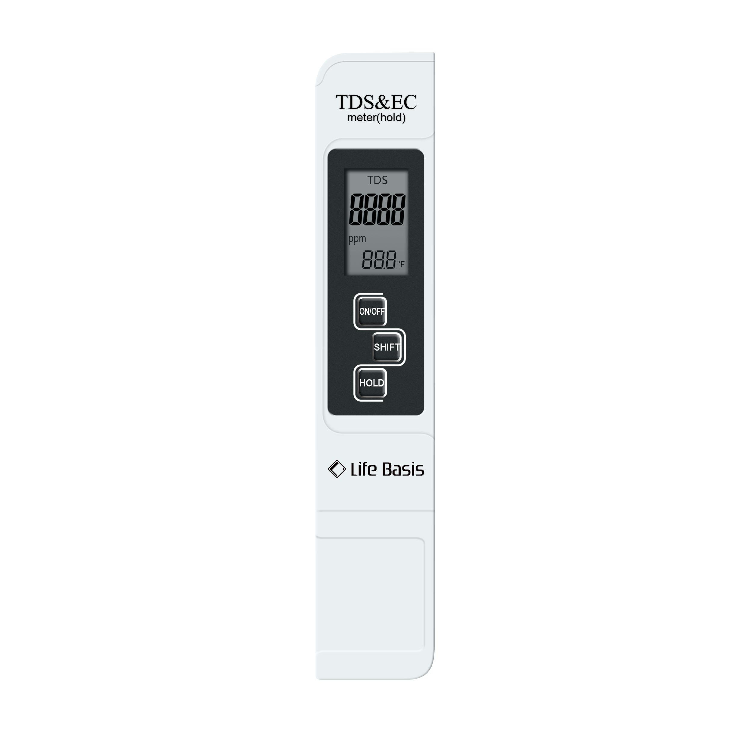 Professional Quality TDS, EC & Temperature Meter, Life Basis Water Quality Test Meter, 0-9990pm.-Ideal for Drinking Water, Aquariums, Premium Protective Leather Case