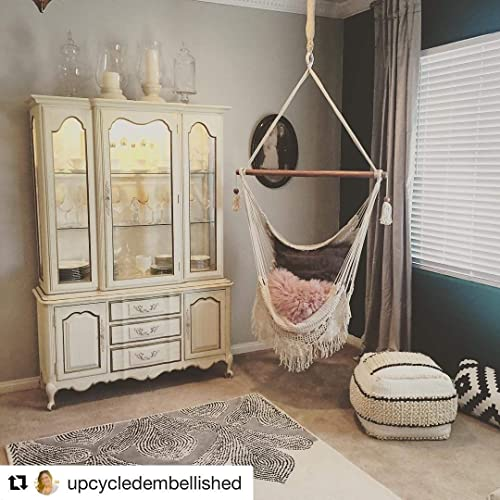 Handmade Hanging Rope Hammock Chair - All Natural Indoor or Outdoor Porch Swing Patio Swing Chair