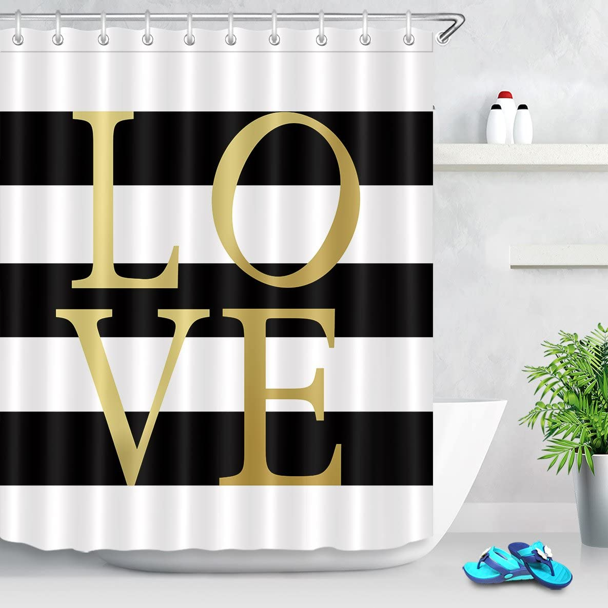 LB Classic Design Black and White Striped Shower Curtain with Gold Love Simple Bathroom Decor Waterproof Polyester Fabric 72x72 Inch with 12 Hooks