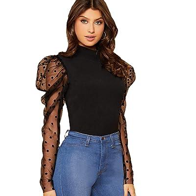 Floerns Women's Mock Neck Polka Dot Mesh Puff Sleeve Blouse Tops at Amazon Women's Clothing store
