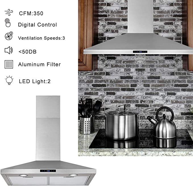 Low Noise 3 Speed Exhaust Fan Newfield 450 Cfm Ducted Ductless Convertible Stove Vent Hood Range Hood 30 Inch Wall Mount In Stainless Steel For High Ceiling Kitchen Chimney Upto 11 Ft Push