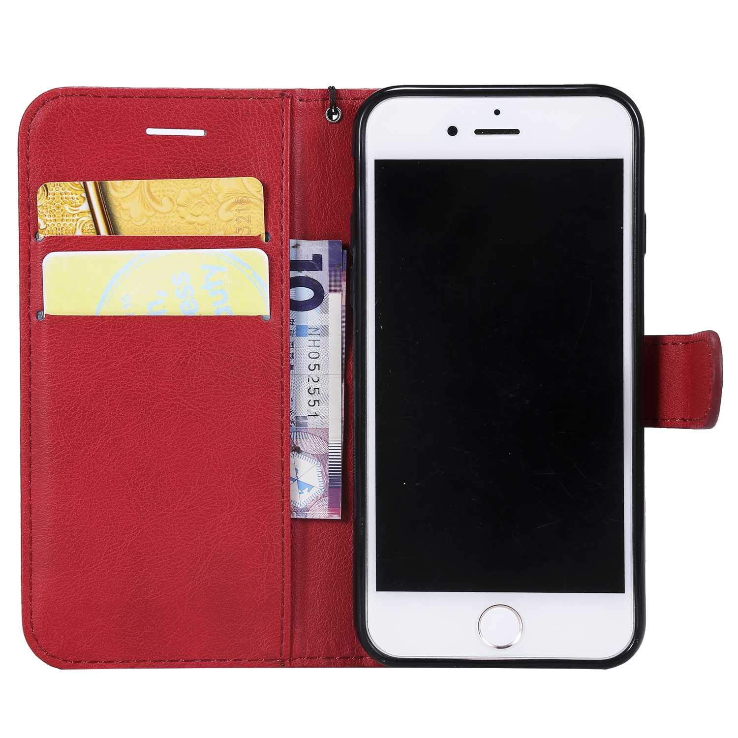 iPhone 7/8 Case, The Grafu Shockproof Leather Wallet Flip Case with [Card Slots] [Wrist Strap] Stand Function Cover for Apple iPhone 7 / iPhone 8, Red by The Grafu (Image #5)