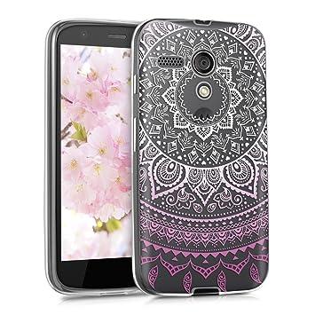 kwmobile Funda para Motorola Moto G (1. Gen) - Carcasa de TPU para móvil y diseño de Sol hindú en Rosa Claro/Blanco/Transparente