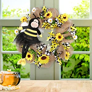 QTDLXFA Burlap Wreath 15 Inches, Artificial Sunflowers & Bowknot, Bee Honey, Spring Summer Autumn Decoration, Front Door Wall Window Wreath, Rustic Outdoor Home Decor (Yellow & White)