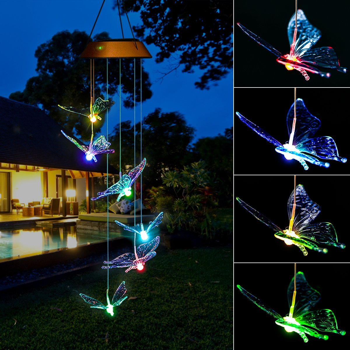 Elfeland Solar Wind Chime Light Multicolored LED Bulb Translucent Butterfly Shape USB & Solar Charged IP44 Waterproof for Home Party Night Garden Decoration