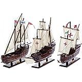 Lot de 3 maquettes des bateaux de Christophe Colomb - Santa-María/Niña et Pinta