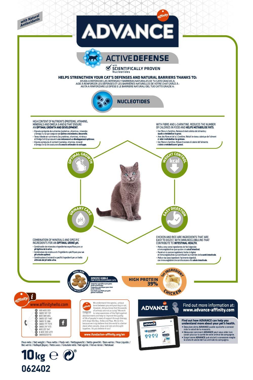 Advance Junior Sterilized - Pienso para Gatos esterilizados de hasta 2 años de Edad - 10 kg