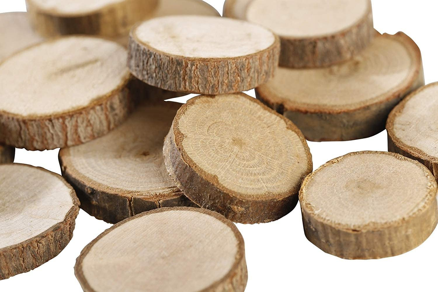 """Gmark Natural Wood Slices 1""""-1.5"""" Unfinished Round Discs 50 ct, Tree Bark Wooden Circles for DIY Crafts GM1083"""