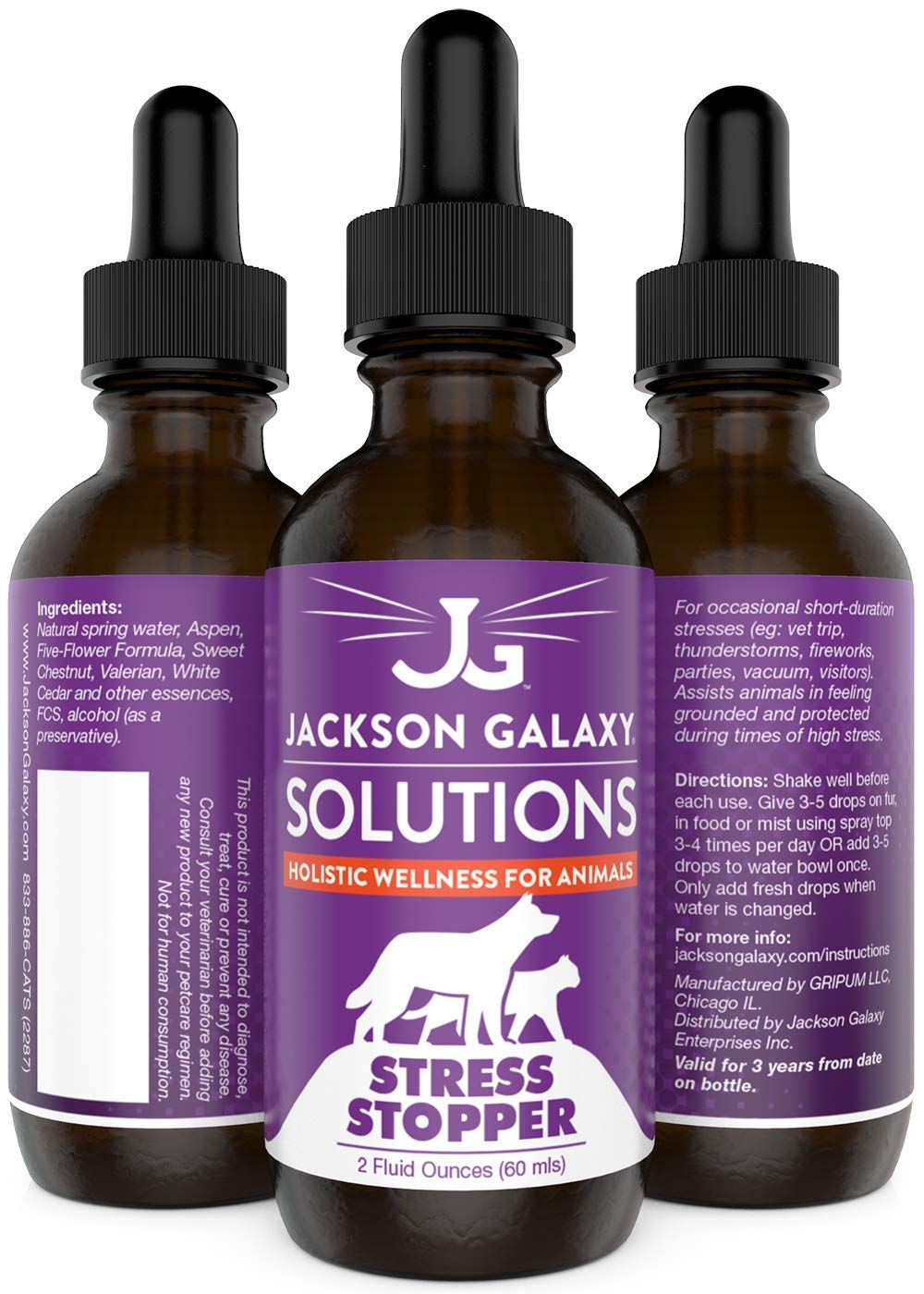 Jackson Galaxy: Stress Stopper (2 oz.) - Pet Solution - Promotes Sense of Safety During Short-Term Stress - Can Keep Pet Calm and Grounded - All-Natural Formula - Reiki Energy by Jackson Galaxy