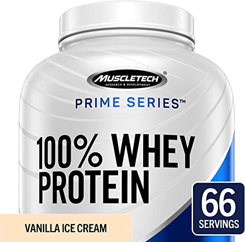MuscleTech Prime Series 100 Whey Protein Powder, 25g Premium Protein, Research Proven Whey Peptides for Faster Absorption, Vanilla, 66 Servings 5.0lbs , 5-Pounds