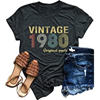40th Birthday Gift T Shirts 1980 Original Parts Vintage Tees Funny 39th Birthday Greeting Party Women Cute Summer Tops