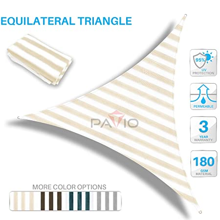 Patio Paradise 17 x 17 x 17 Beige White Stripes Sun Shade Sail Triangle Canopy, 180 GSM Permeable Canopy Pergolas Top Cover, Permeable UV Block Fabric Durable Outdoor, Customized Available