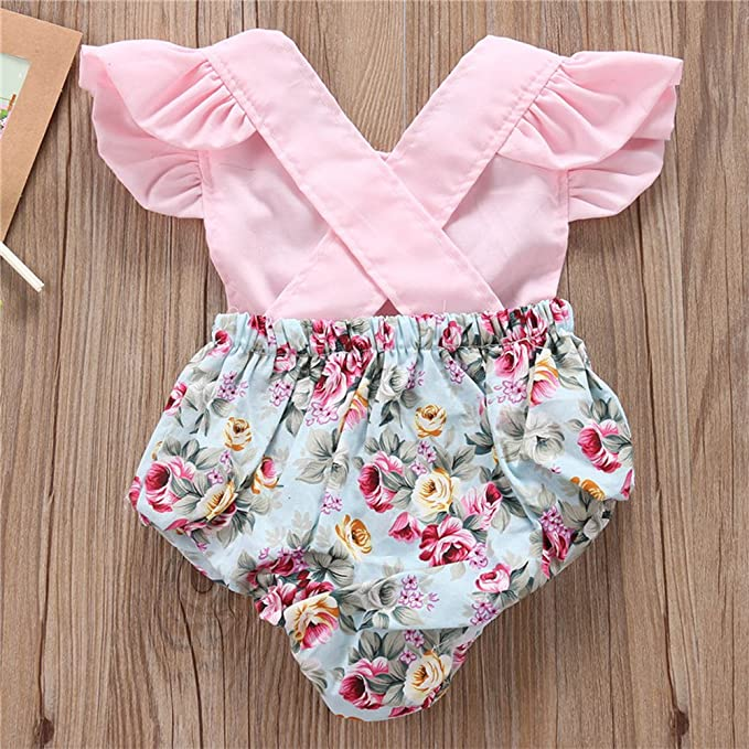 stylesilove Newborn Baby Girl Backless Unicorn Floral Printed Ruffle Sleeve Sunsuit Romper Outfit