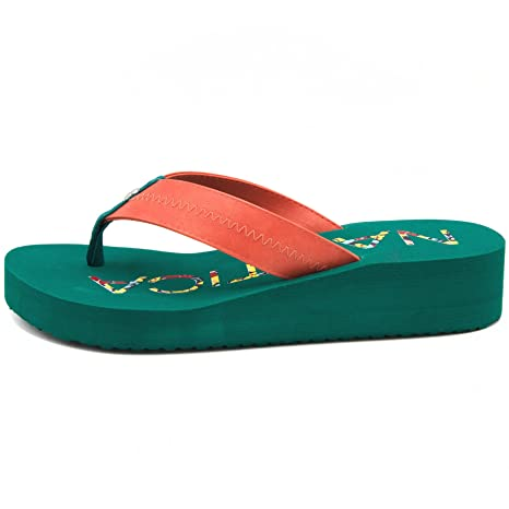 676216f33d468 Nautica Women's Tedori Wedge Flip Flop High Fashion Beach Sandal ...