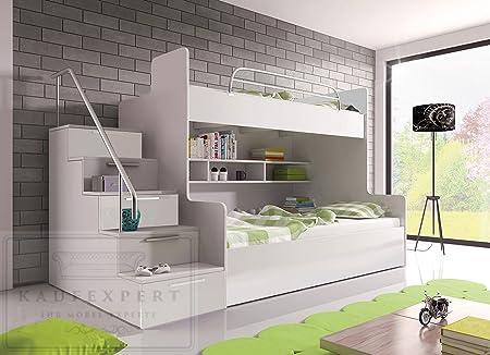 Etagenbett Weiss Hochglanz : Etagenbett weiß hochglanz links bett jugendbett doppelstockbett