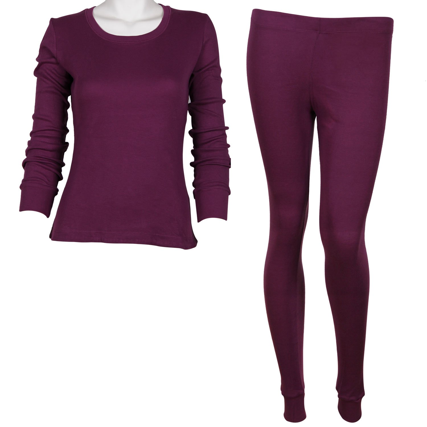 Godsen Women's 2 Piece Thermal Pajamas Long Johns Set Cotton Purple 85201802