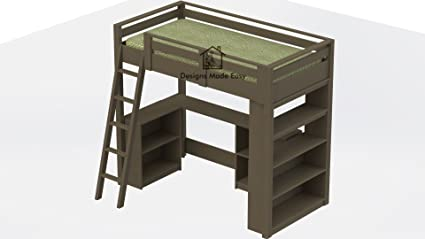 Easy Diy Kids Twin Loft Bed With Desk And Bookcases Design Plans